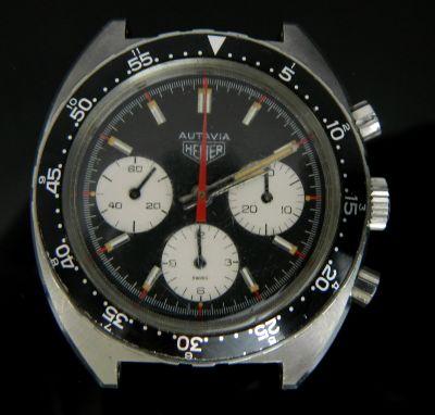 MK Men's Panda Heuer Autavia Automatic Chronograph Wrist Watch Ref 73663 Circa.1972