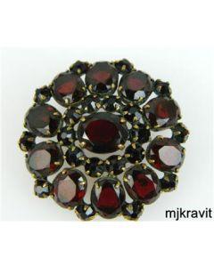 Gold Plated Circular Bohemian Garnet Antique Victorian Brooch Pin