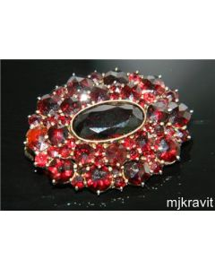 Vermeil 800 Silver Rose Cut Bohemian Garnet 2 Row Victorian Brooch Pin