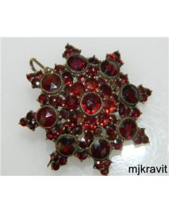Gold Filled Rose Cut Bohemian Garnet 3D Multi Star Victorian Brooch Pin Pendant
