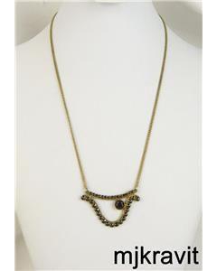 Vintage Yellow Gold Filled  Bohemian Rose Cut Garnet Pendant Necklace