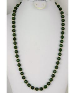 Contemporary Yellow Gold and Dark Green Jade Bead Necklace