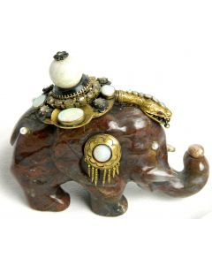 Carved Elephant with Pearls and Gemstones