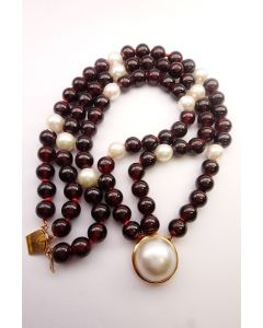 1980's Yellow Gold Cultured Pearl and Garnet Bead Bracelet