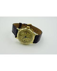 MK-Rare Early Gold LeCoultre Fancy Case Chronograph Wristwatch Cal. 281, Circa 1940's