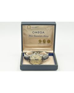 Rare Military Omega Chronograph Ref 2451 Cal 321 Wristwatch, Circa 1957, Fighter Pilot Distinguished Flying Cross Recipient