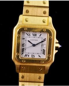 PRIVATE COLLECTION MK Rare Men's Cartier 18k Yellow Gold Santos Wrist Watch Circa 1980