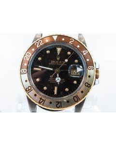 MK- This is Rolex GMT Master Two-Tone Root Beer Wristwatch Ref 16753 C.1980