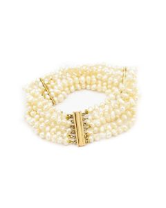 Victorian Yellow Gold and Six Strand Natural Pearl Bracelet GIA #2185713663