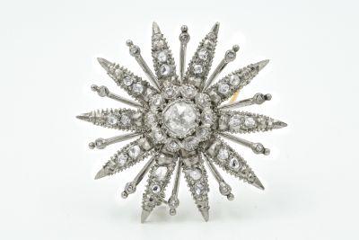 Victorian Palladium and Diamond Starburst Pin Brooch