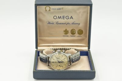 MK Rare Military Omega Chronograph Ref 2451 Cal 321 Wristwatch, Circa 1957, Fighter Pilot Distinguished Flying Cross Recipient