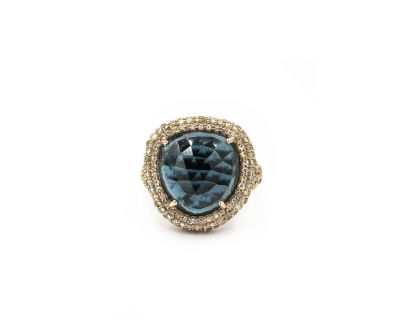 Contemporary Yellow Gold Diamond and Topaz Ring by Neiman Marcus
