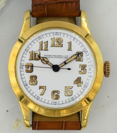MK Personal Collection Unique 18K Center Sweep Seconds Officers Watch By Patek Philippe Circa 1920