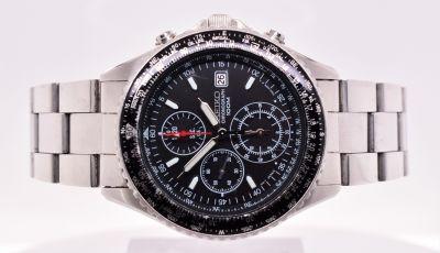 Men's Seiko Black Pilot Flight-Master Chronograph Wristwatch Ref 7T92-OCFO