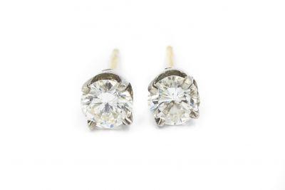 Estate White Gold and Diamond Stud Earrings