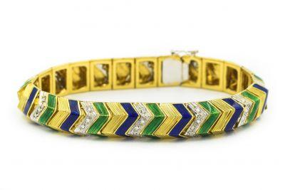 Estate 1970's Yellow Gold Diamond and Enamel Bracelet