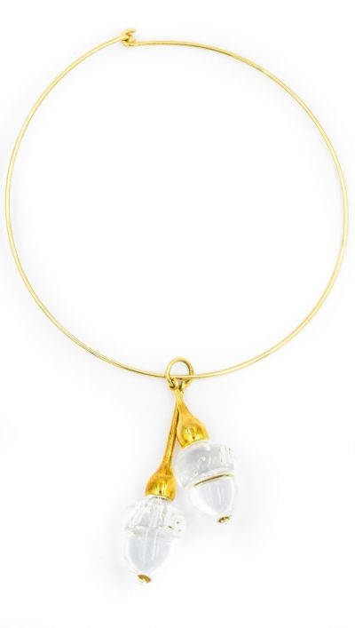 Contemporary Steuben Yellow Gold and Glass Acorn Necklace
