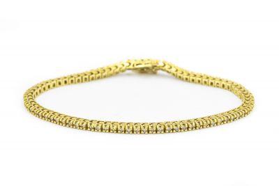 Contemporary Yellow Gold and Diamond Tennis Bracelet