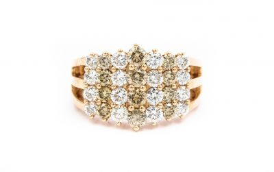 AFINO Contemporary Rose Gold and Diamond Triple Band Ring