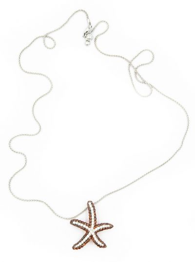 Contemporary Gold and Fancy Diamond Star Fish Pendant