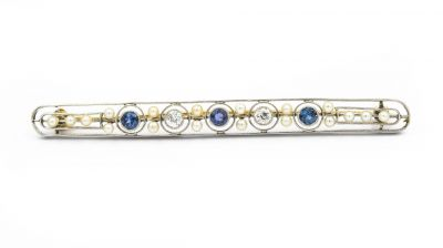 Art Deco Platinum Yellow Gold Diamond Sapphire and Natural Pearl Bar Brooch