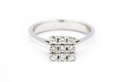 Contemporary White Gold and Diamond Ring