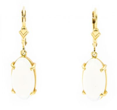 Contemporary Yellow Gold and Moonstone Earrings