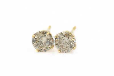 Contemporary Yellow Gold and Diamond Stud Earrings