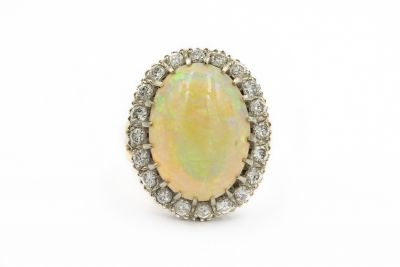 Contemporary Yellow Gold Opal and Diamond Ring