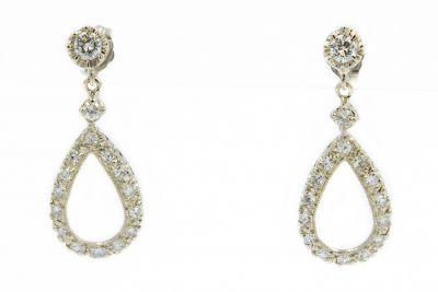 Estate 1960's White Gold and Diamond Teardrop Earrings