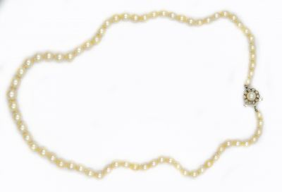 Contemporary Pearl Necklace and White Gold and Diamond Clasp GIA Report 5201746293