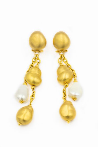 Roberto Coin Contemporary Yellow Gold and Pearl Drop Earrings