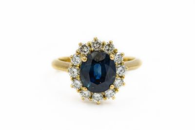 Estate Contemporary Yellow Gold Sapphire and Diamond Ring