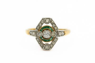 Russian 1860's Yellow Gold Diamond and Emerald Ring