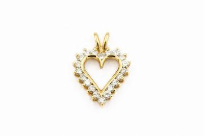 Contemporary Yellow Gold and Diamond Heart Pendant