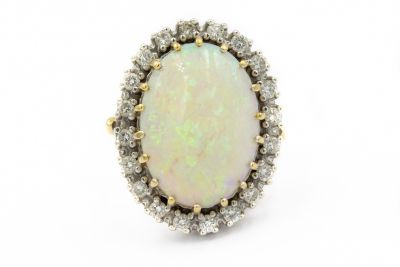 Estate 1970's White Gold Diamond and Opal Ring