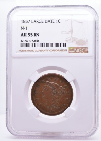 1857 Large Date 1C N-1 AU 55 BN NGC 4674397-001