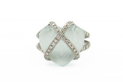 Contemporary White Gold and Diamond Heart Ring by Bibigi