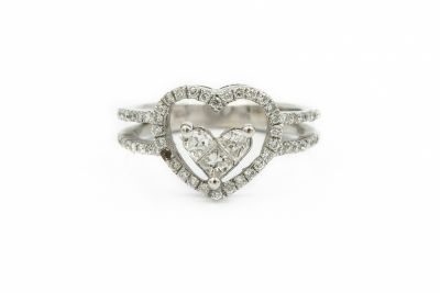 Contemporary White Gold and Diamond Heart Ring