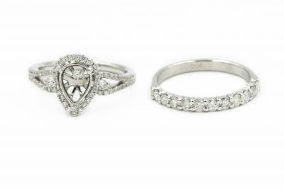 Contemporary White Gold and Diamond Engagement Ring and Semi Mount Ring