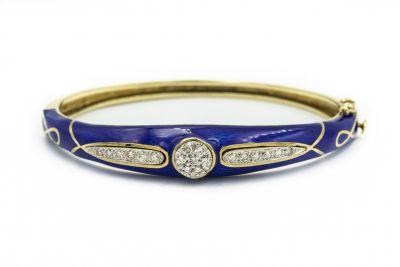 La Triomphe Contemporary Yellow Gold Blue Enamel and Diamond Bracelet