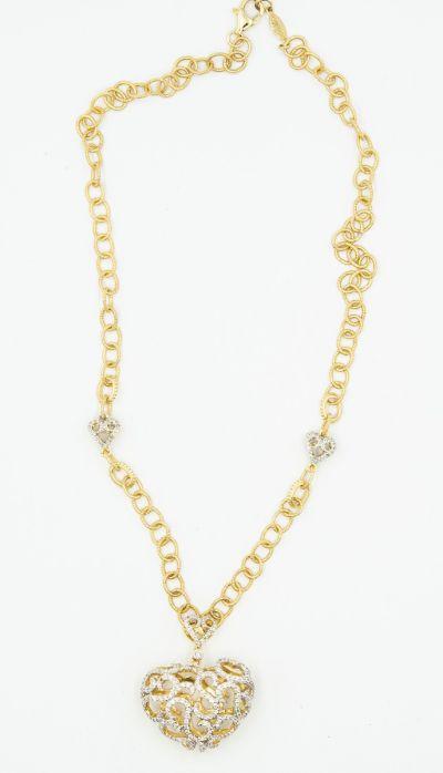 Gabriel & Co Contemporary Yellow Gold Diamond Heart Necklace