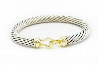 David Yurman Yellow Gold and Sterling Silver Cable Bracelet