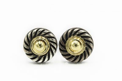 David Yurman Contemporary Yellow Gold and Sterling Silver Earrings