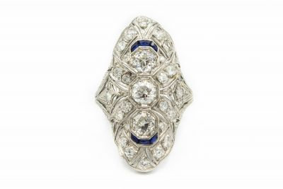 Art Deco Platinum Sapphire and Diamond Shield Ring