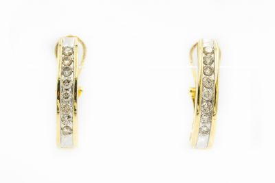 Estate Yellow Gold and Diamond Hoop Earrings