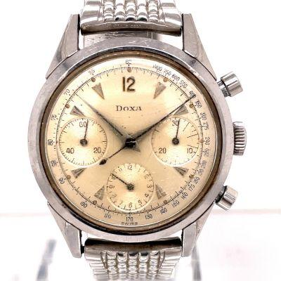MK Personal Collection Rare Steel Triple Register Doxa Daytona Valjoux 72 Wristwatch Circa 1960's