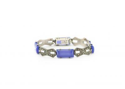 Estate Sterling Silver Marcasite and Chrysoprase Bracelet