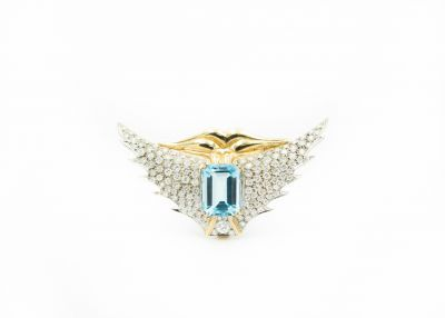 Estate Contemporary Gold Diamond and Aquamarine Wings Brooch