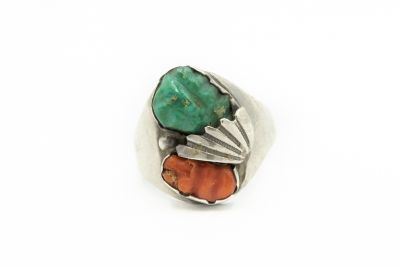 Estate Native American Sterling Silver and Turquoise Ring